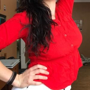 MISS TINA tomato red button down blouse